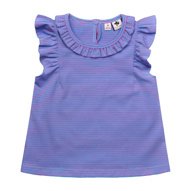Busy Bees Colette Ruffle Top, Periwinkle Stripe (Purple, Size 6Y) Maisonette from Busy Bees