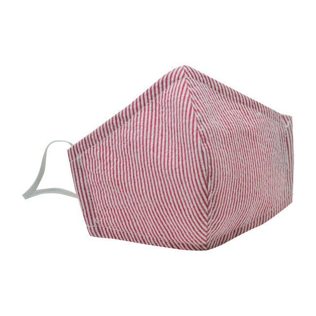 Busy Bees Cotton Face Mask, Red Seersucker Stripe (Red Stripes, Size 10-14Y) Maisonette from Busy Bees
