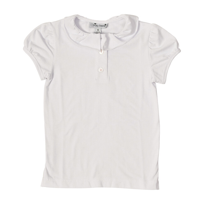 Busy Bees Eliza Ruffle Knit Polo Shirt, (White, Size 6Y) Maisonette from Busy Bees