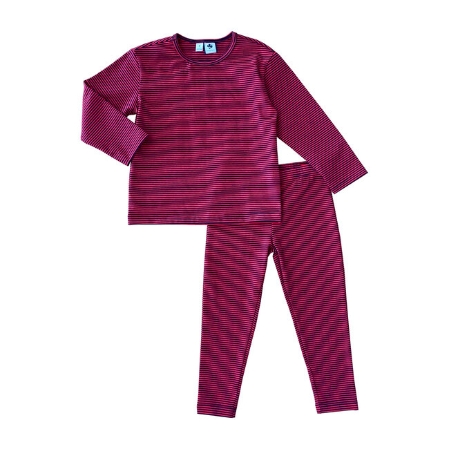 Busy Bees Exclusive Mason Lounge Set, Red & Navy Blue Ministripe (Stripes, Size 7Y) Maisonette from Busy Bees