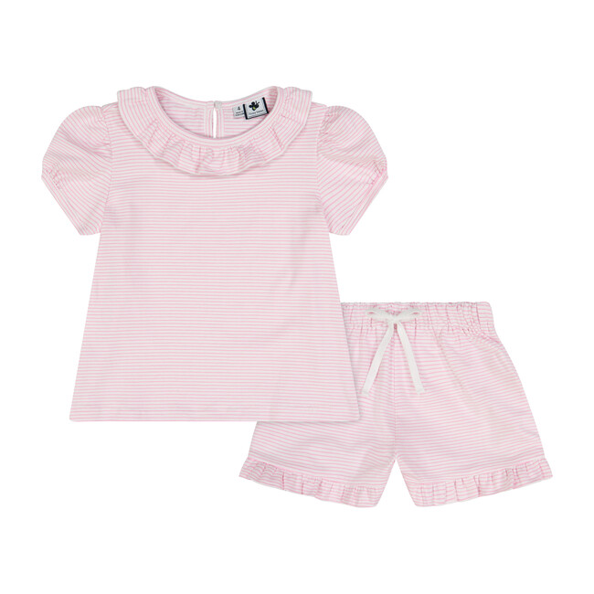 Busy Bees Fiona Ruffle 2 Piece Knit Lounge Set, Light (Pink & White Stripe, Size 5Y) Maisonette from Busy Bees