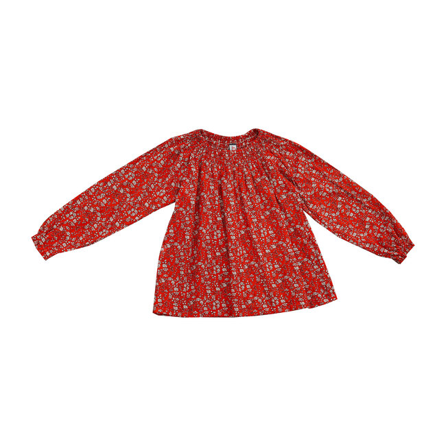 Busy Bees Georgina Smock Top, Red Floral (Prints, Size 14Y) Maisonette from Busy Bees