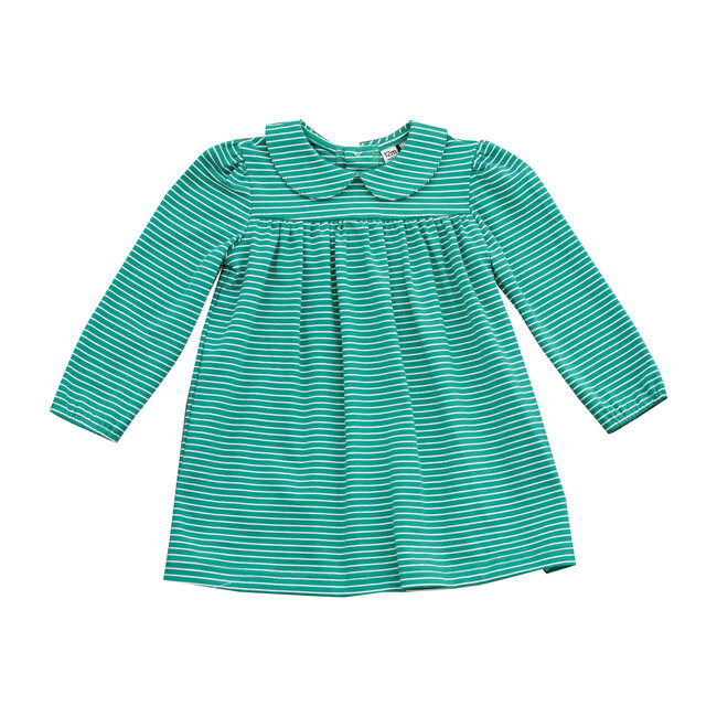 Busy Bees Ginny Peter Pan Collar Dress, Green Stripe (Prints, Size 5Y) Maisonette from Busy Bees