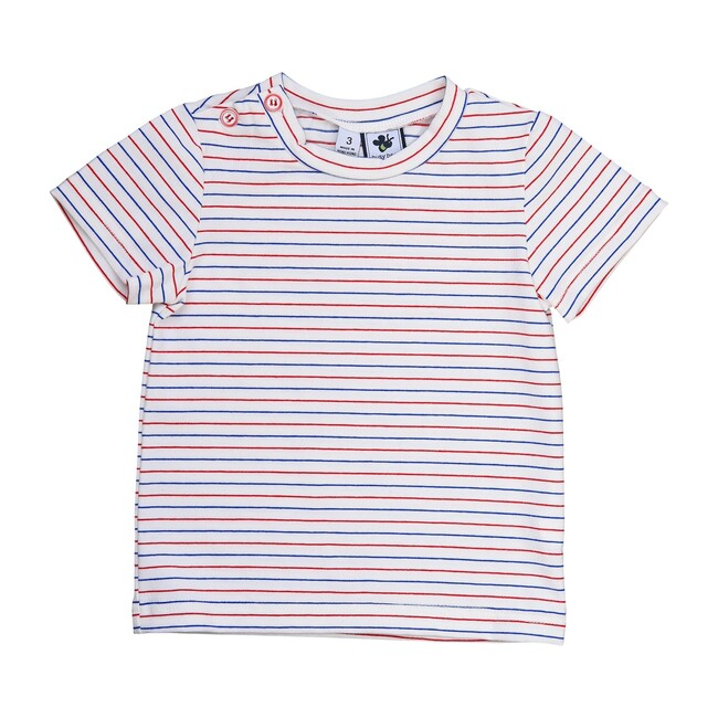 Busy Bees Henry Button T-Shirt, Red White Blue Stripe Knit (Stripes, Size 5Y) Maisonette from Busy Bees