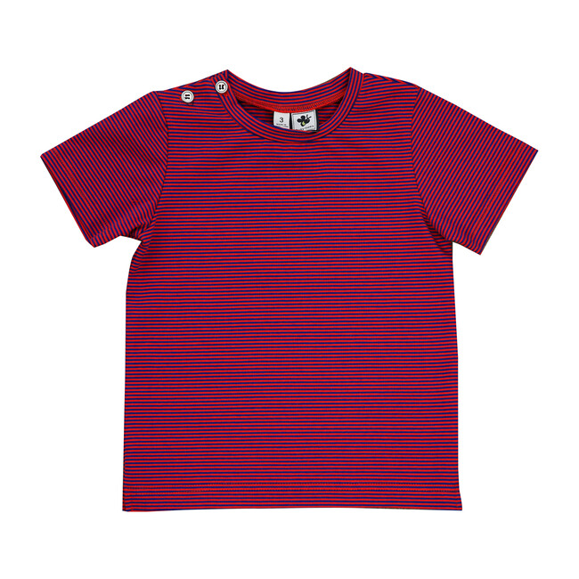 Busy Bees Henry Button T-Shirt, Red & Blue Stripes (Prints, Size 4Y) Maisonette from Busy Bees