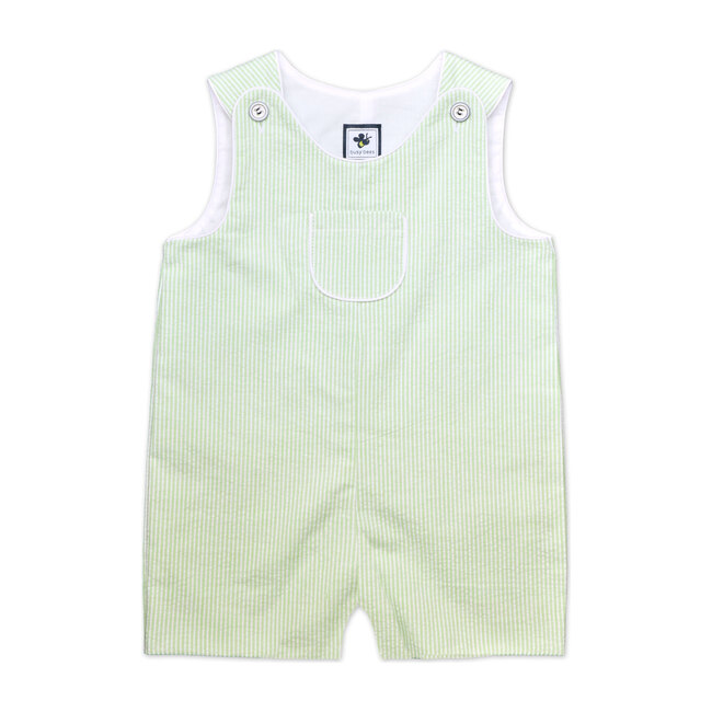 Busy Bees Jack Classic Shortall, (Green Seersucker Stripe, Size 12M) Maisonette from Busy Bees