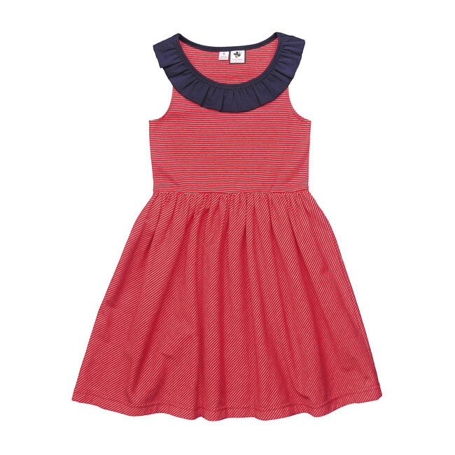 Busy Bees Jessica Ruffle Neck Dress, Mini (Red Stripe Knit, Size 12Y) Maisonette from Busy Bees