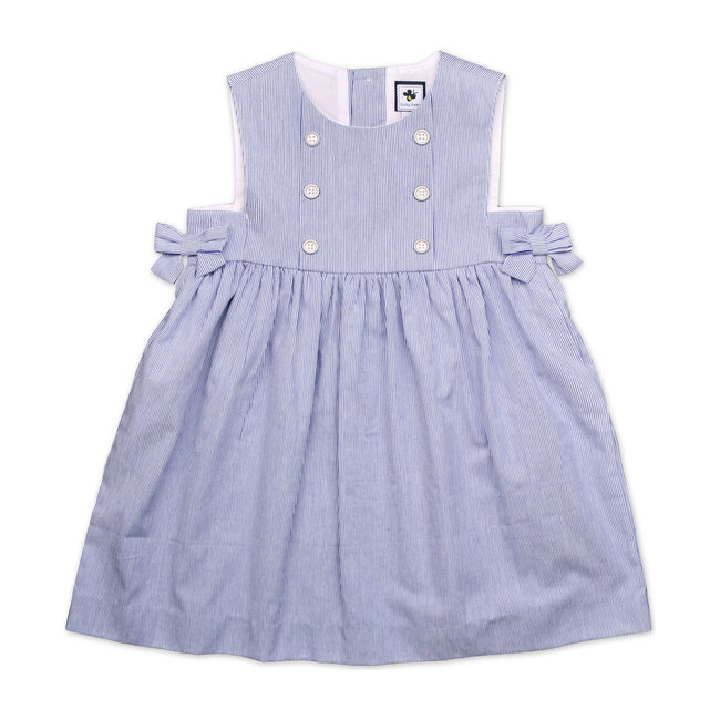 Busy Bees Lara Bib Front Apron Dress, (Navy Blue Seersucker Stripe, Size 8Y) Maisonette from Busy Bees