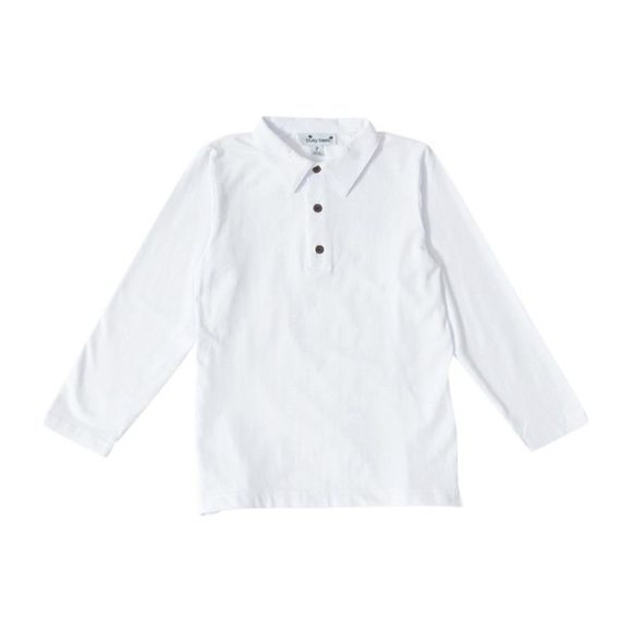Busy Bees Long Sleeve Polo Shirt, (White Knit, Size 8Y) Maisonette from Busy Bees