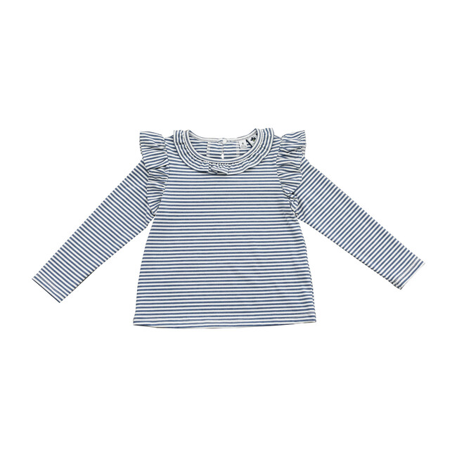Busy Bees Luna Ruffle Top, Blue Stripe (Prints, Size 12Y) Maisonette from Busy Bees