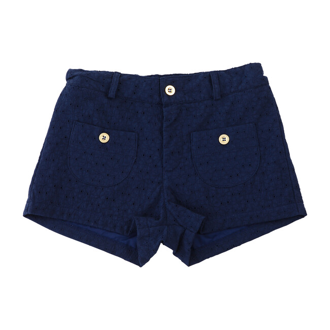 Busy Bees Miss Shannon Shorts, (Navy Blue Eyelet, Size 7Y) Maisonette from Busy Bees