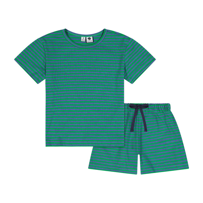 Busy Bees Oliver Short Sleeve 2 Piece Knit Lounge Set, (Green & Blue Stripe, Size 2Y) Maisonette from Busy Bees