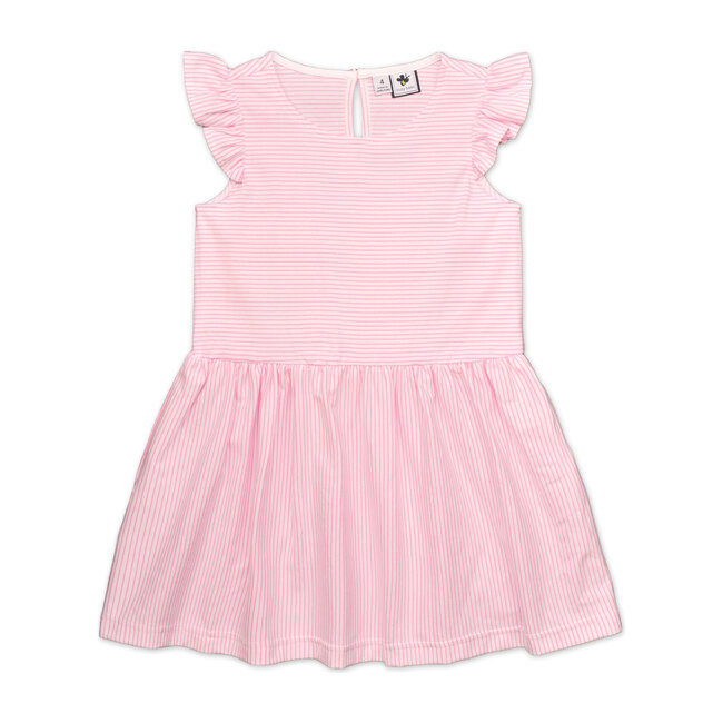 Busy Bees Penelope Dropwaist Dress, Light Pink And White Stripe (Stripes, Size 3Y) Maisonette from Busy Bees