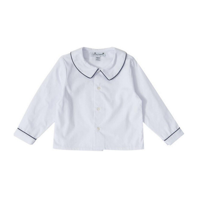 Busy Bees Peter Pan Collar Shirt, (White & Navy Blue Piping, Size 6M) Maisonette from Busy Bees