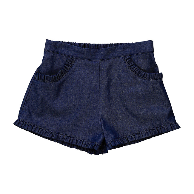 Busy Bees Phoebe Pocket Shorts, Indigo Denim Chambray (Blue, Size 5Y) Maisonette from Busy Bees