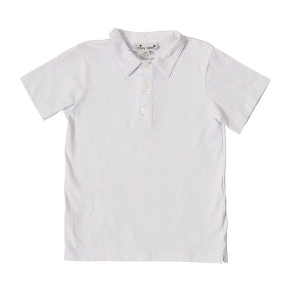 Busy Bees Polo Shirt, (White, Size 10Y) Maisonette from Busy Bees