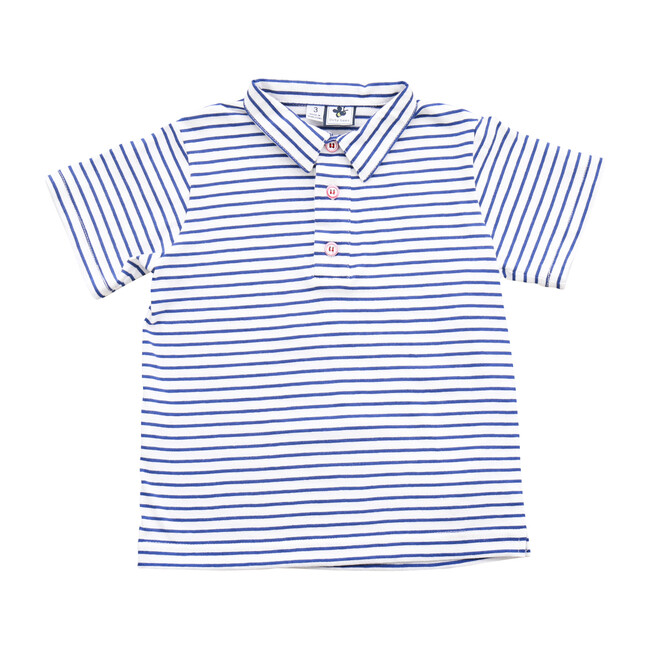 Busy Bees Polo Shirt, Blue Stripe (Blue Stripes, Size 12M) Maisonette from Busy Bees