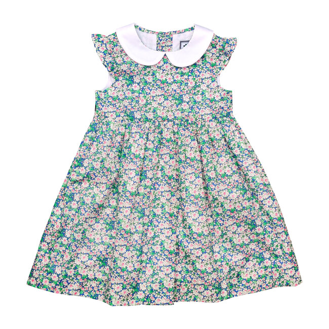 Busy Bees Riley Peter Pan Collar Dress, Pink Green Floral (Florals, Size 2Y) Maisonette from Busy Bees