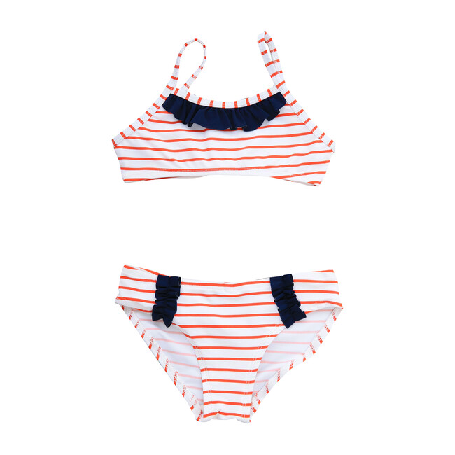 Busy Bees Ruffle Bikini, Red White Stripe (Stripes, Size 6Y) Maisonette from Busy Bees