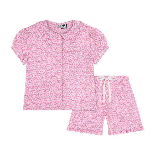 Busy Bees Ruffle Sleeve Loungewear Set, (Pink Fan, Size 7Y) Maisonette from Busy Bees