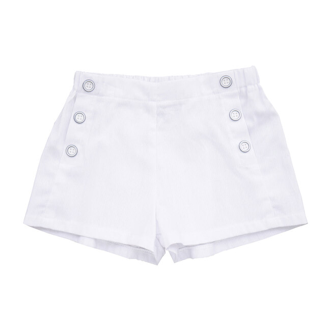Busy Bees Sailor Button Shorts, (White Seersucker, Size 5Y) Maisonette from Busy Bees