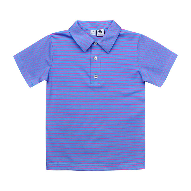 Busy Bees Short Sleeve Polo Shirt, Periwinkle Stripe (Stripes, Size 7Y) Maisonette from Busy Bees