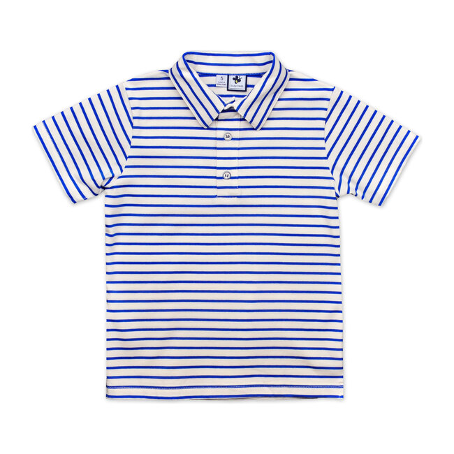 Busy Bees Short Sleeve Polo Shirt, Royal (Blue Stripe, Size 24M) Maisonette from Busy Bees