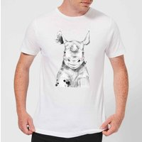 Blushed Rhino Men's T-Shirt - White - L - White from ByIWOOT