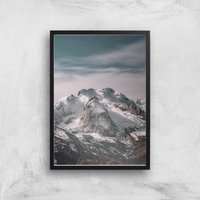 Snowy Mountain Giclee Art Print - A3 - Black Frame from ByIWOOT