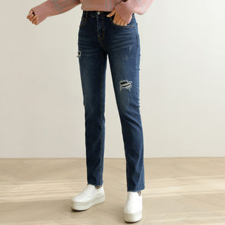 Band-Waist Distressed Straight-Cut Jeans from CLICK