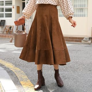 Band-Waist Faux-Suede Flare Skirt Brown - One Size from CLICK