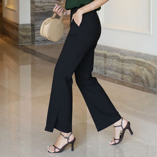Band-Waist Straight-Cut Pants from CLICK