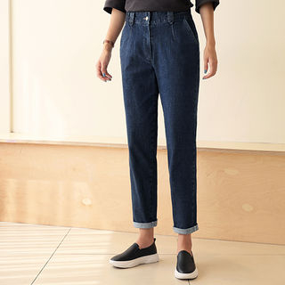 Band-Waist Washed Baggy Jeans from CLICK