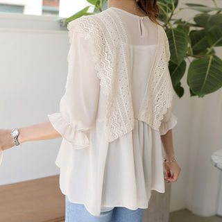 Bell-Sleeve Lace-Detail A-Line Top from CLICK