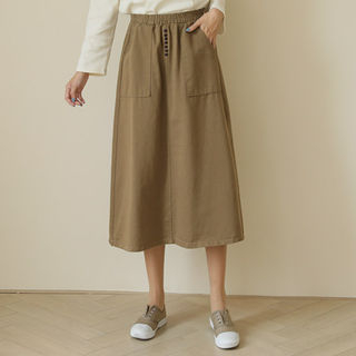 Button-Trim Long Flare Skirt from CLICK