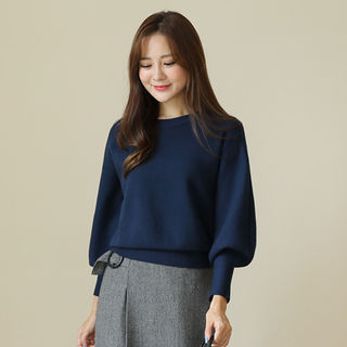Colored Balloon-Sleeve Sweater from CLICK