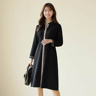 Contrast-Trim Knit Shirtdress from CLICK