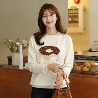 Donut-Embroidered Relaxed-Fit Knit Top from CLICK