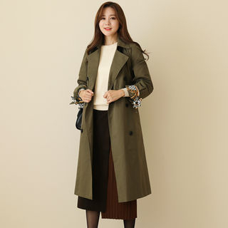 Double-Breasted Scarf-Cuff Trench Coat With Sash from CLICK