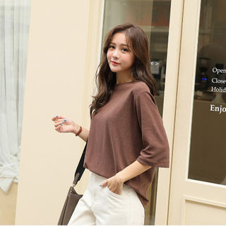 Elbow-Sleeve Relaxed-Fit T-Shirt from CLICK