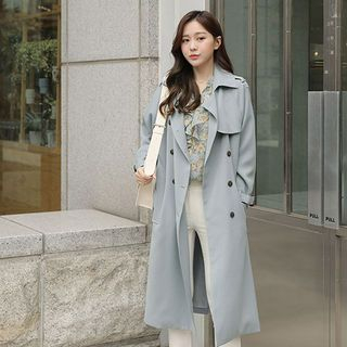 Epaulette-Shoulder Double-Breasted Trench Coat With Belt from CLICK