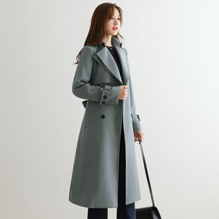 Flap Belted Double-Breasted Trench Coat from CLICK