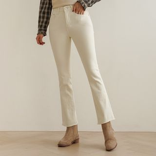 Fray-Hem Fleece-Lined Boot-Cut Pants from CLICK