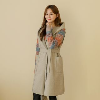 Hooded Open-Front Wool Blend Vest With Sash from CLICK