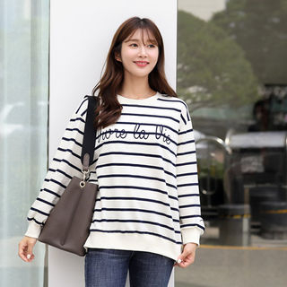 Letter-Embroidered Stripe Pullover in 2 Designs from CLICK