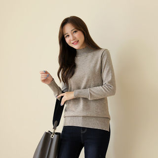 Mock-Neck Slit-Side Knit Top from CLICK