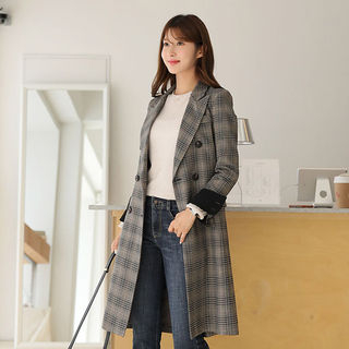 Peaked-Lapel Double-Breasted Plaid Coat from CLICK