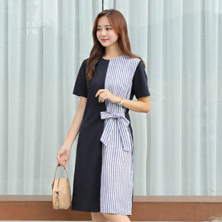 Round-Neck Color-Block Tie-Waist Dress from CLICK