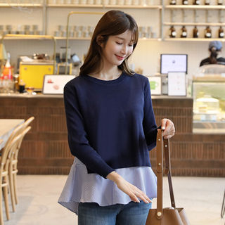 Set: Knit Top + Ruffle-Hem Blouse in 2 Designs from CLICK