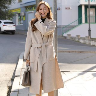 Slit-Side Patch-Pocket Wool Blend Coat With Sash Oatmeal - One Size from CLICK